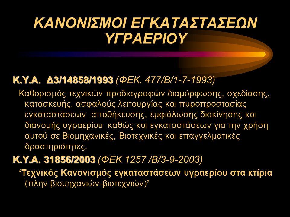 ΚΑΝΟΝΙΣΜΟΙ ΕΓΚΑΤΑΣΤΑΣΕΩΝ ΥΓΡΑΕΡΙΟΥ Κ.Υ.Α. Δ3/14858/1993 Κ.Υ.Α. Δ3/14858/1993 (ΦΕΚ. 477/Β/1-7-1993) Καθορισμός τεχνικών προδιαγραφών διαμόρφωσης, σχεδί