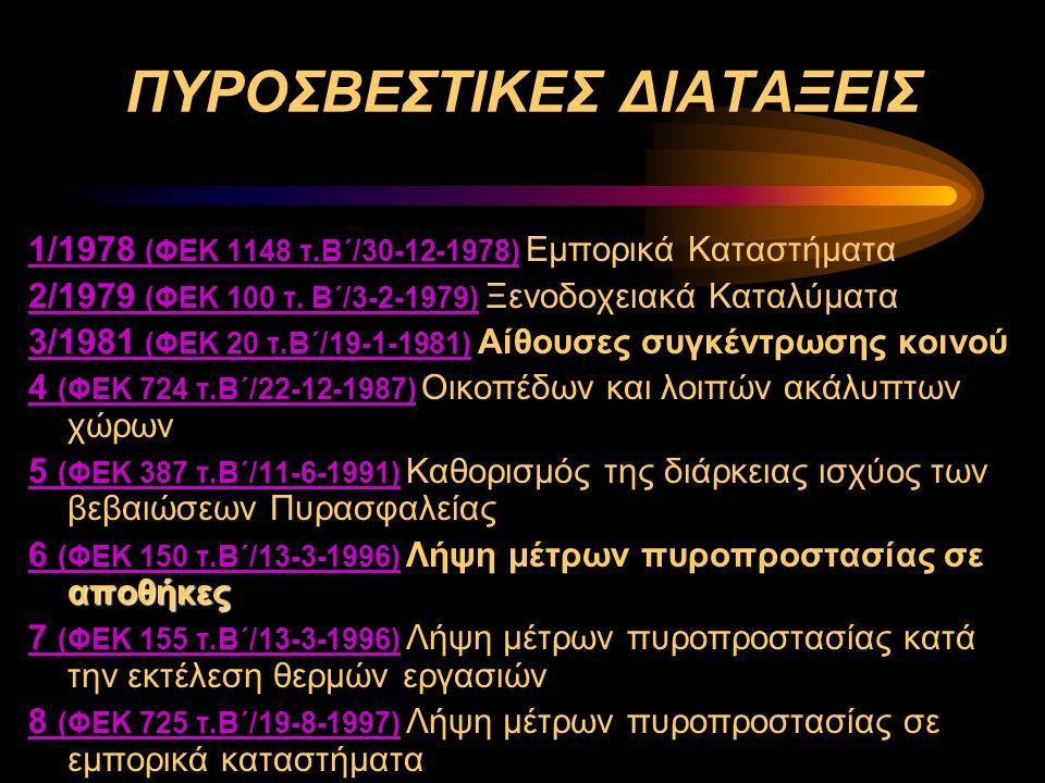 ΠΥΡΟΣΒΕΣΤΙΚΕΣ ΔΙΑΤΑΞΕΙΣ 1/1978 (ΦΕΚ 1148 τ.Β΄/30-12-1978) 1/1978 (ΦΕΚ 1148 τ.Β΄/30-12-1978) Εμπορικά Καταστήματα 2/1979 (ΦΕΚ 100 τ. Β΄/3-2-1979) 2/197