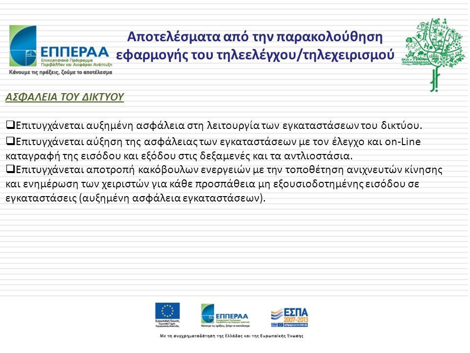 Αποτελέσματα από την παρακολούθηση εφαρμογής του τηλεελέγχου/τηλεχειρισμού ΑΣΦΑΛΕΙΑ ΤΟΥ ΔΙΚΤΥΟΥ  Επιτυγχάνεται αυξημένη ασφάλεια στη λειτουργία των εγκαταστάσεων του δικτύου.