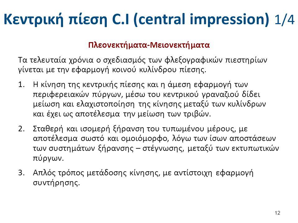 Κεντρική πίεση C.I (central impression) 1/4 Πλεονεκτήματα-Μειονεκτήματα Τα τελευταία χρόνια ο σχεδιασμός των φλεξογραφικών πιεστηρίων γίνεται με την ε