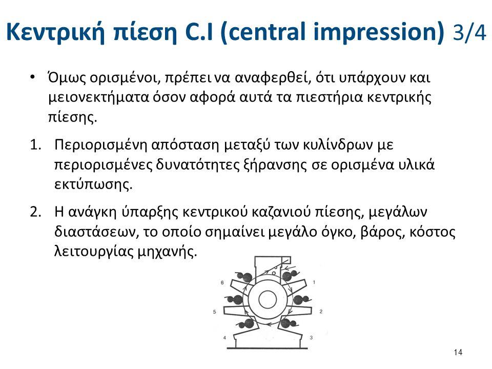 Κεντρική πίεση C.I (central impression) 3/4 Όμως ορισμένοι, πρέπει να αναφερθεί, ότι υπάρχουν και μειονεκτήματα όσον αφορά αυτά τα πιεστήρια κεντρικής