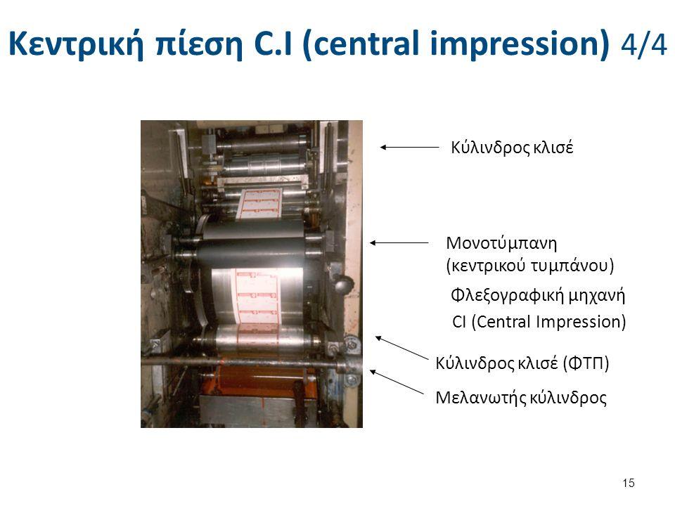 Κεντρική πίεση C.I (central impression) 4/4 15 Κύλινδρος κλισέ Μονοτύμπανη (κεντρικού τυμπάνου) Φλεξογραφική μηχανή CI (Central Impression) Κύλινδρος