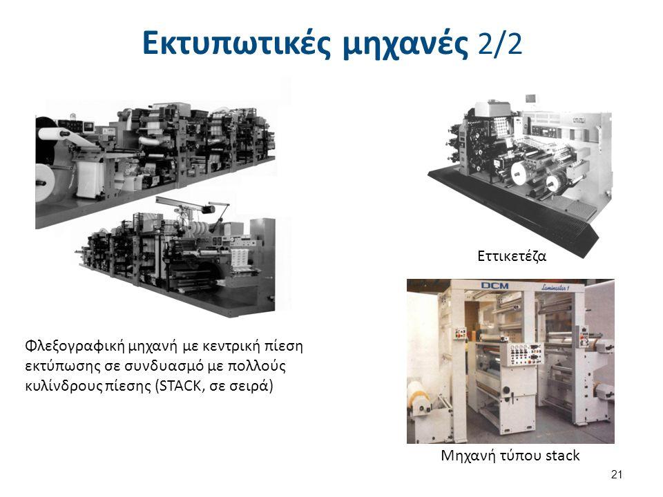 Εκτυπωτικές μηχανές 2/2 21 Φλεξογραφική μηχανή με κεντρική πίεση εκτύπωσης σε συνδυασμό με πολλούς κυλίνδρους πίεσης (STACK, σε σειρά) Εττικετέζα Μηχα