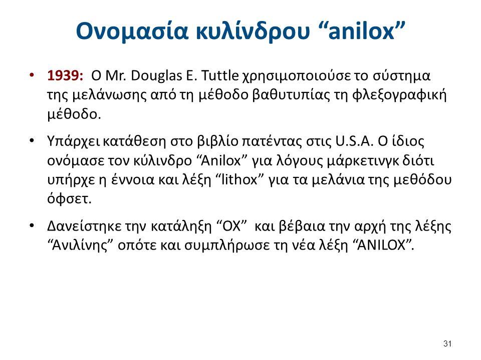 """Ονομασία κυλίνδρου """"anilox"""" 1939: O Mr. Douglas E. Tuttle χρησιμοποιούσε το σύστημα της μελάνωσης από τη μέθοδο βαθυτυπίας τη φλεξογραφική μέθοδο. Yπά"""