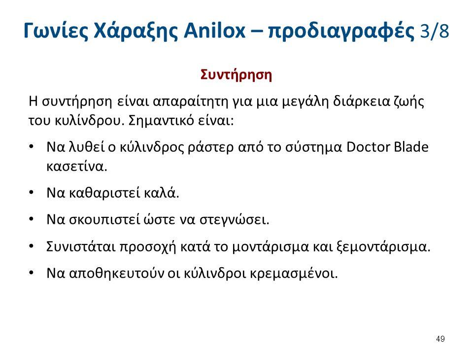 Γωνίες Χάραξης Anilox – προδιαγραφές 3/8 Συντήρηση Η συντήρηση είναι απαραίτητη για μια μεγάλη διάρκεια ζωής του κυλίνδρου. Σημαντικό είναι: Να λυθεί