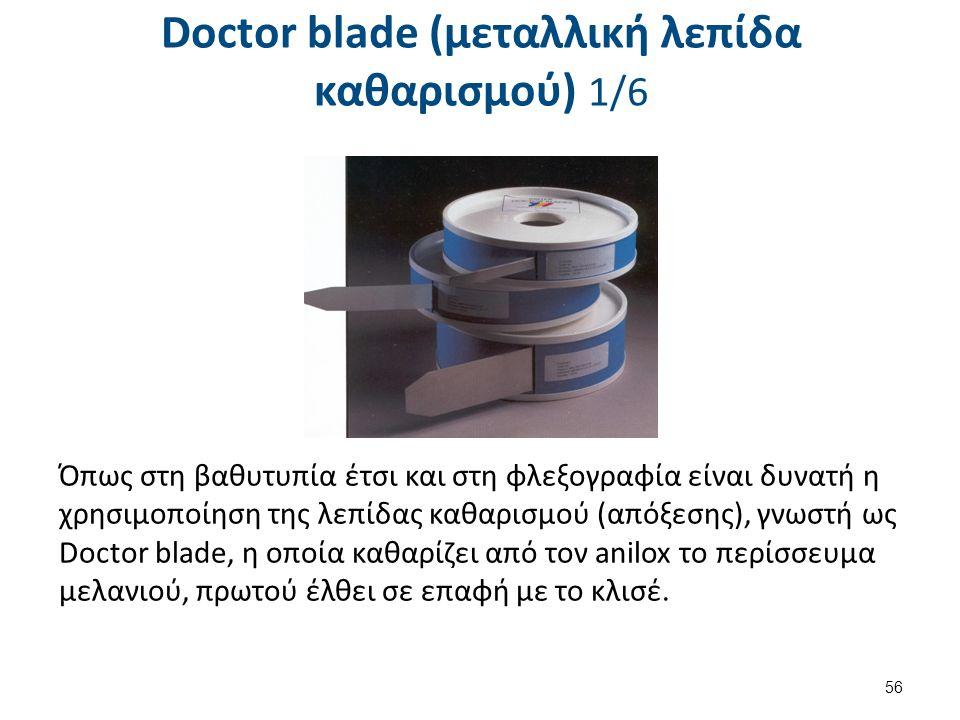 Doctor blade (μεταλλική λεπίδα καθαρισμού) 1/6 56 Όπως στη βαθυτυπία έτσι και στη φλεξογραφία είναι δυνατή η χρησιμοποίηση της λεπίδας καθαρισμού (από