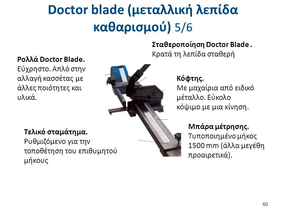 Doctor blade (μεταλλική λεπίδα καθαρισμού) 5/6 60 Ρολλά Doctor Blade. Εύχρηστο. Απλό στην αλλαγή κασσέτας με άλλες ποιότητες και υλικά. Σταθεροποίηση