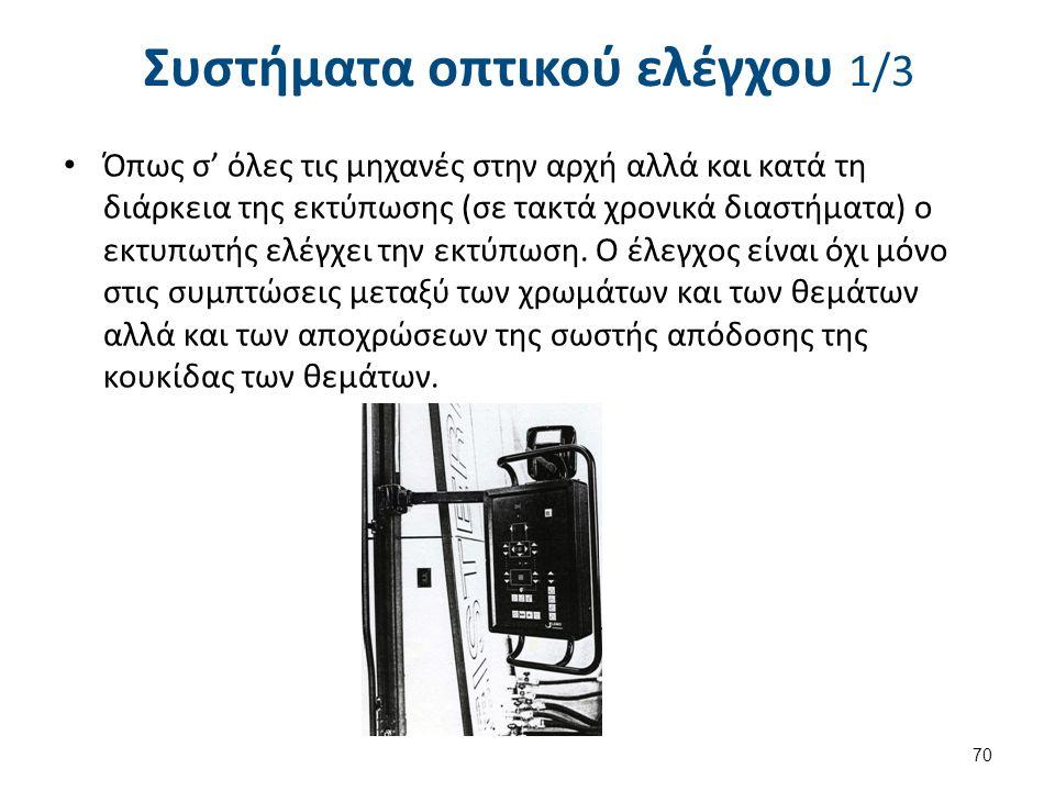 Συστήματα οπτικού ελέγχου 1/3 Όπως σ' όλες τις μηχανές στην αρχή αλλά και κατά τη διάρκεια της εκτύπωσης (σε τακτά χρονικά διαστήματα) ο εκτυπωτής ελέ