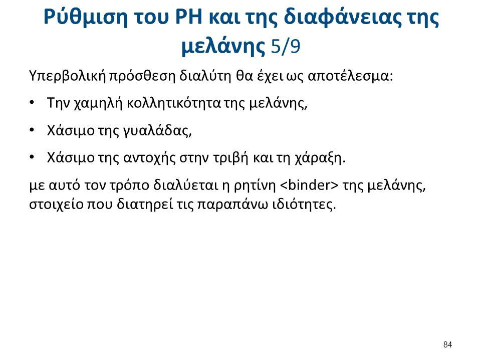 Ρύθμιση του PH και της διαφάνειας της μελάνης 5/9 Υπερβολική πρόσθεση διαλύτη θα έχει ως αποτέλεσμα: Την χαμηλή κολλητικότητα της μελάνης, Χάσιμο της