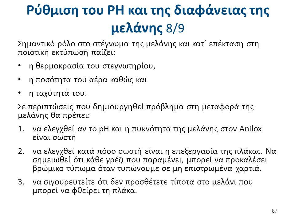 Ρύθμιση του PH και της διαφάνειας της μελάνης 8/9 Σημαντικό ρόλο στο στέγνωμα της μελάνης και κατ' επέκταση στη ποιοτική εκτύπωση παίζει: η θερμοκρασί