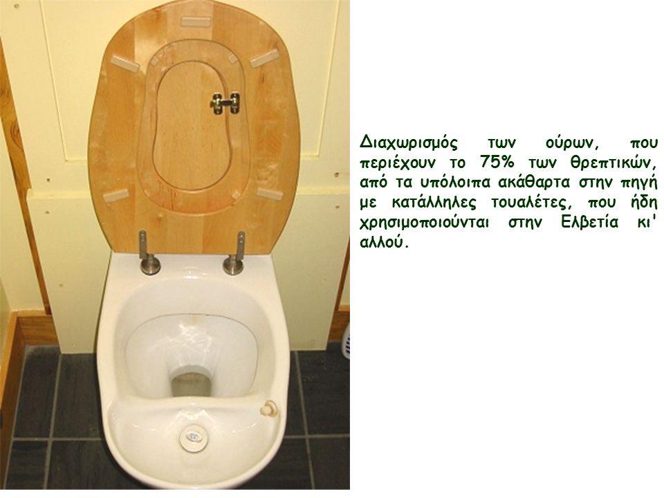 Διαχωρισμός των ούρων, που περιέχουν το 75% των θρεπτικών, από τα υπόλοιπα ακάθαρτα στην πηγή με κατάλληλες τουαλέτες, που ήδη χρησιμοποιούνται στην Ελβετία κι αλλού.