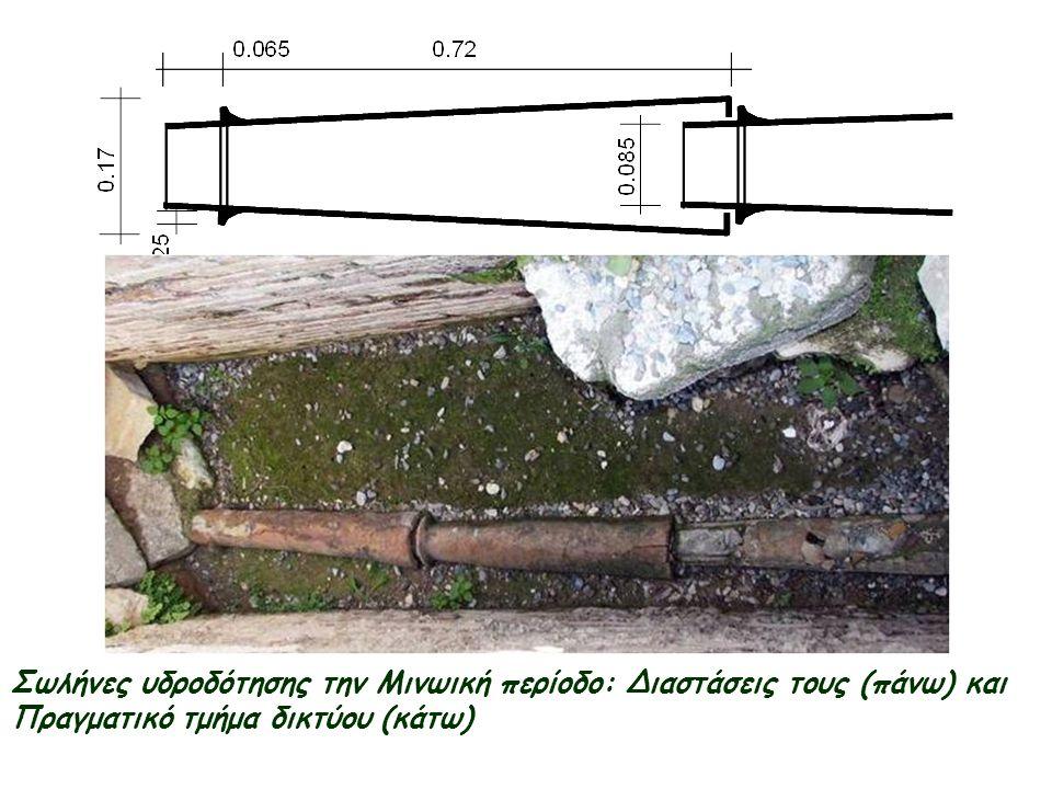 Σωλήνες υδροδότησης την Μινωική περίοδο: Διαστάσεις τους (πάνω) και Πραγματικό τμήμα δικτύου (κάτω)