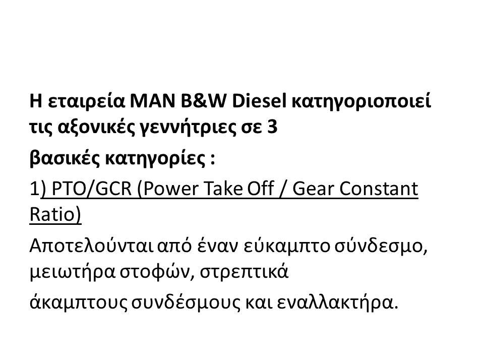 Η εταιρεία MAN B&W Diesel κατηγοριοποιεί τις αξονικές γεννήτριες σε 3 βασικές κατηγορίες : 1) PTO/GCR (Power Take Off / Gear Constant Ratio) Αποτελούν