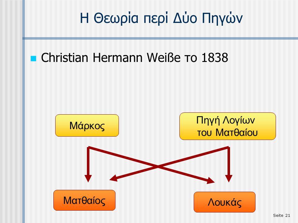 Seite 21 Η Θεωρία περί Δύο Πηγών Christian Hermann Weiße το 1838 Πηγή Λογίων του Ματθαίου Μάρκος Ματθαίος Λουκάς
