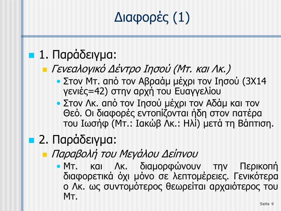 Seite 30 Διαφορές στην Οικονομία-Διάταξη της Ύλης MάρκοςΜατθαίος 1) Πεθερά Πέτρου (Μκ.