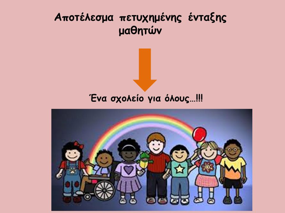 Αποτέλεσμα πετυχημένης ένταξης μαθητών Ένα σχολείο για όλους…!!!