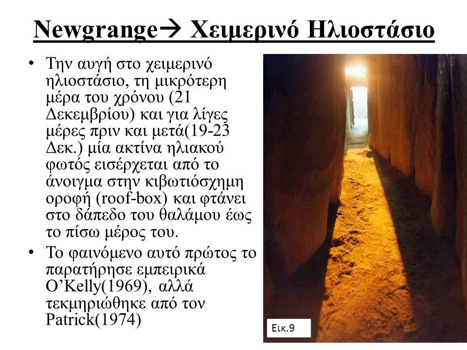 Newgrange  Χειμερινό Ηλιοστάσιο Την αυγή στο χειμερινό ηλιοστάσιο, τη μικρότερη μέρα του χρόνου (21 Δεκεμβρίου) και για λίγες μέρες πριν και μετά(19-23 Δεκ.) μία ακτίνα ηλιακού φωτός εισέρχεται από τo άνοιγμα στην κιβωτιόσχημη οροφή (roof-box) και φτάνει στο δάπεδο του θαλάμου έως το πίσω μέρος του.