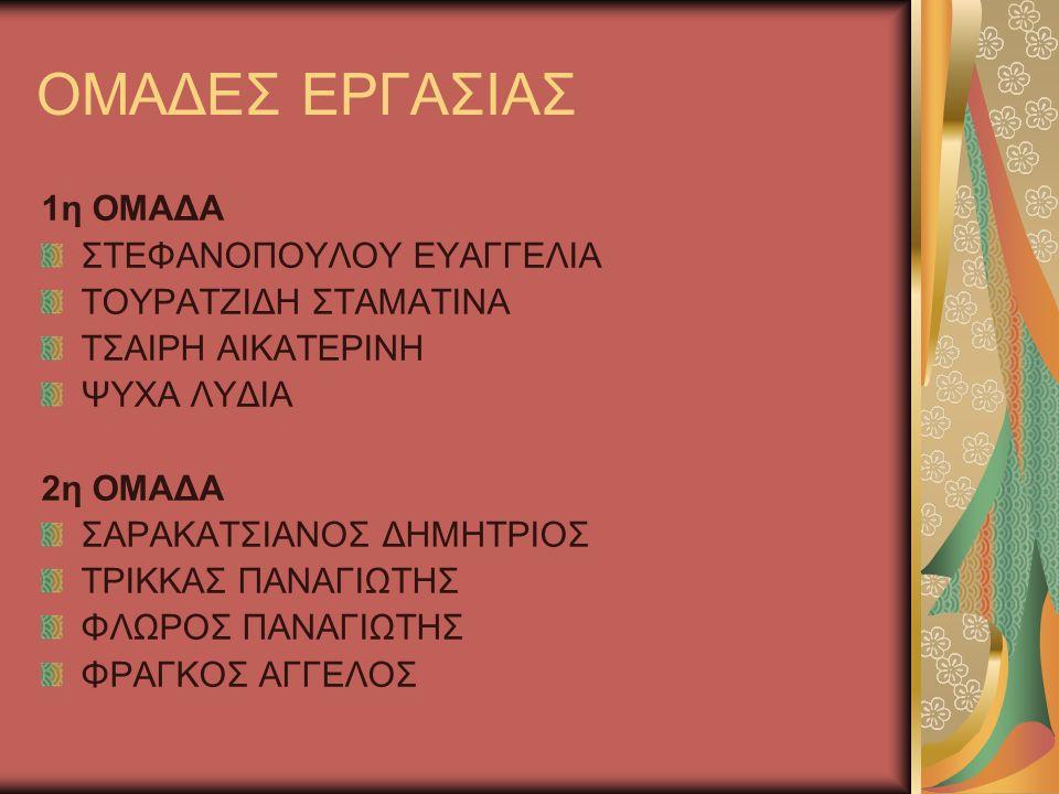ΟΜΑΔΕΣ ΕΡΓΑΣΙΑΣ 3η ΟΜΑΔΑ ΣΕΛΕΚΟΥ ΑΦΡΟΔΙΤΗ ΣΕΓΚΛΗΣ ΙΩΑΝΝΗΣ ΣΕΓΚΛΗΣ ΔΗΜΗΤΡΙΟΣ ΣΥΝΟΔΗΣ ΠΑΝΑΓΙΩΤΗΣ 4η ΟΜΑΔΑ ΣΕΓΚΟΣ ΔΗΜΗΤΡΙΟΣ ΣΧΟΙΝΑΡΑΚΗΣ ΠΑΝΑΓΙΩΤΗΣ ΣΚΟΥΜΠΡΗ ΣΑΒΒΙΝΑ ΧΡΙΣΤΟΔΟΥΛΟΥ ΕΛΕΥΘΕΡΙΑ