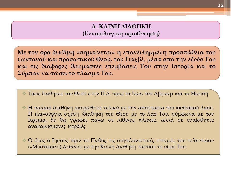  Τρεις διαθήκες του Θεού στην Π.Δ. προς το Νώε, τον Αβραάμ και το Μωυσή.