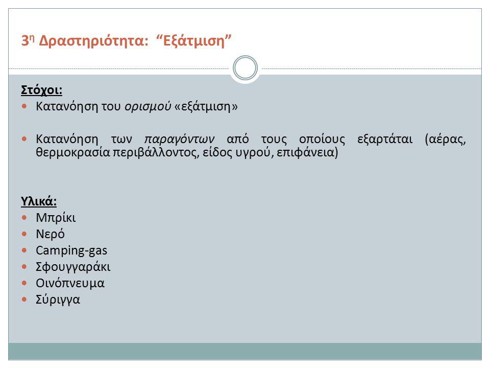 3 η Δραστηριότητα: Εξάτμιση Στόχοι: Κατανόηση του ορισμού «εξάτμιση» Κατανόηση των παραγόντων από τους οποίους εξαρτάται (αέρας, θερμοκρασία περιβάλλοντος, είδος υγρού, επιφάνεια) Υλικά: Μπρίκι Νερό Camping-gas Σφουγγαράκι Οινόπνευμα Σύριγγα