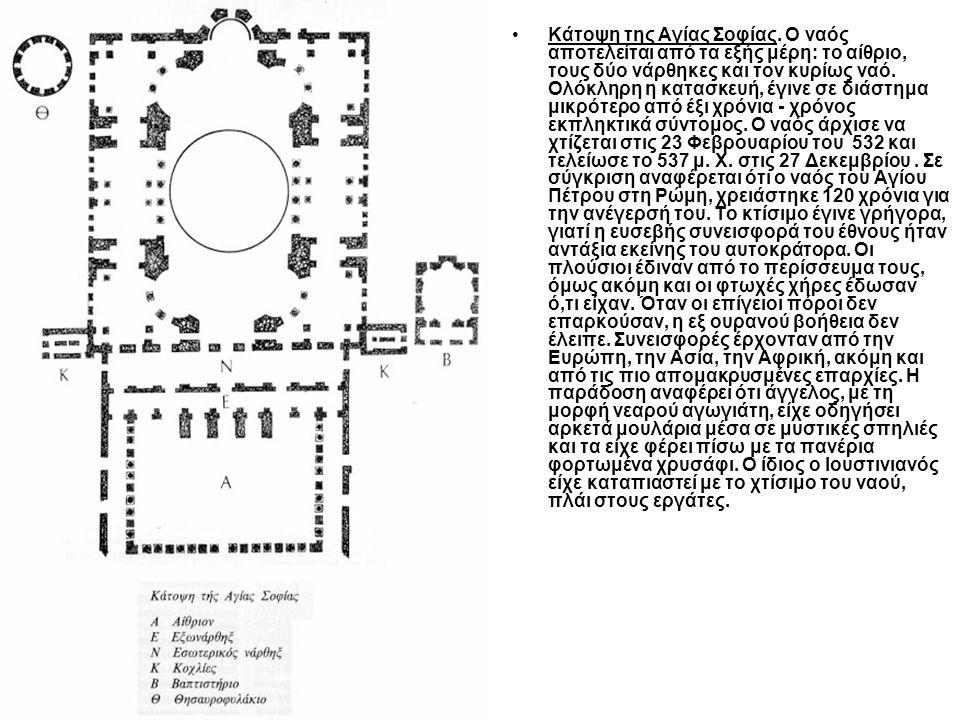 Κάτοψη της Αγίας Σοφίας. Ο ναός αποτελείται από τα εξής μέρη: το αίθριο, τους δύο νάρθηκες και τον κυρίως ναό. Ολόκληρη η κατασκευή, έγινε σε διάστημα