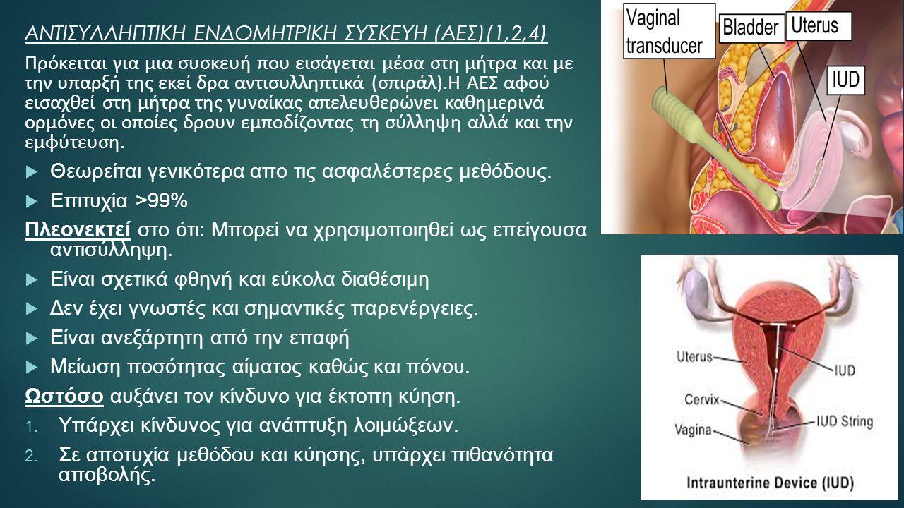 ΑΝΤΙΣΥΛΛΗΠΤΙΚΗ ΕΝΔΟΜΗΤΡΙΚΗ ΣΥΣΚΕΥΗ (ΑΕΣ)(1,2,4) Πρόκειται για μια συσκευή που εισάγεται μέσα στη μήτρα και με την υπαρξή της εκεί δρα αντισυλληπτικά (σπιράλ).Η ΑΕΣ αφού εισαχθεί στη μήτρα της γυναίκας απελευθερώνει καθημερινά ορμόνες οι οποίες δρουν εμποδίζοντας τη σύλληψη αλλά και την εμφύτευση.