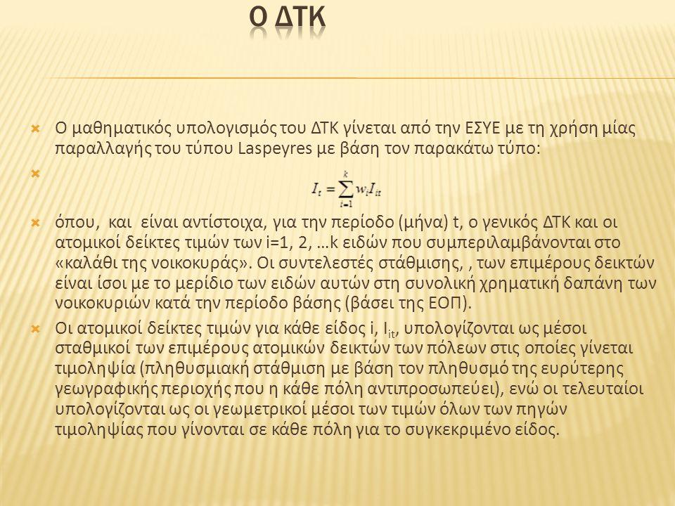  Ο μαθηματικός υπολογισμός του ΔΤΚ γίνεται από την ΕΣΥΕ με τη χρήση μίας παραλλαγής του τύπου Laspeyres με βάση τον παρακάτω τύπο:   όπου, και είνα