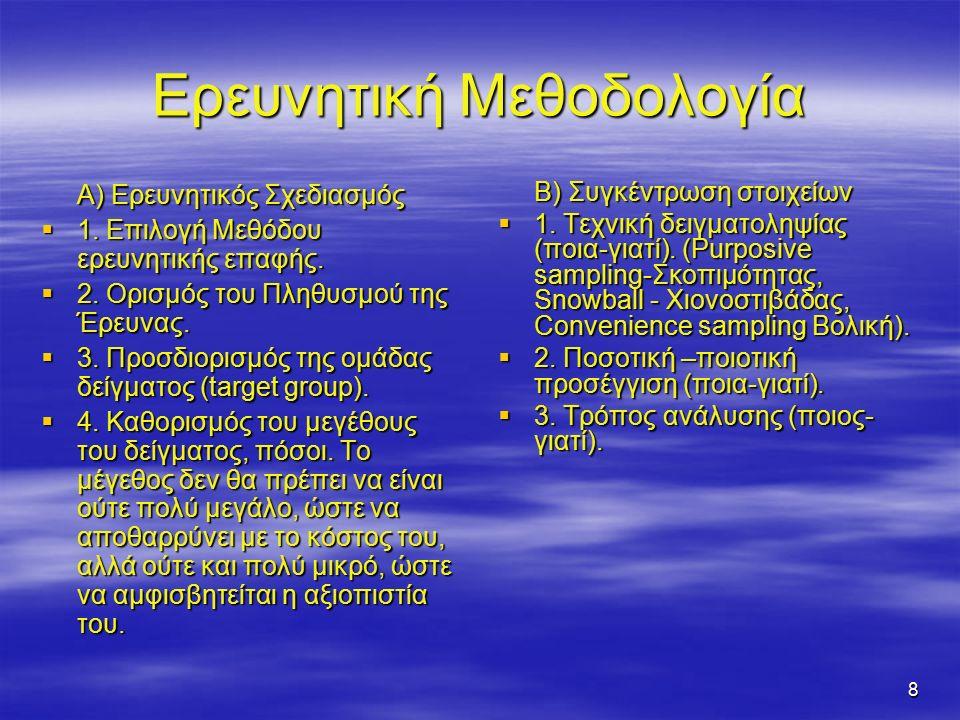 8 Ερευνητική Μεθοδολογία Α) Ερευνητικός Σχεδιασμός  1.