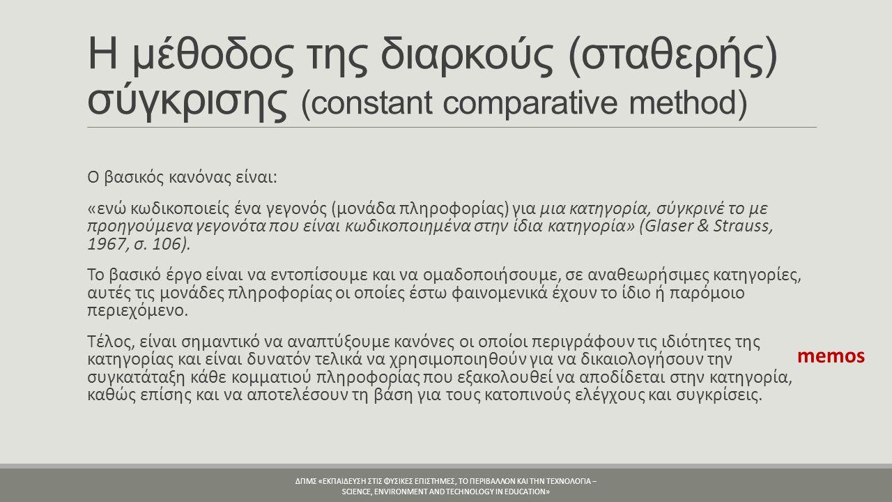 Η μέθοδος της διαρκούς (σταθερής) σύγκρισης (constant comparative method) O βασικός κανόνας είναι: «ενώ κωδικοποιείς ένα γεγονός (μονάδα πληροφορίας) για μια κατηγορία, σύγκρινέ το με προηγούμενα γεγονότα που είναι κωδικοποιημένα στην ίδια κατηγορία» (Glaser & Strauss, 1967, σ.