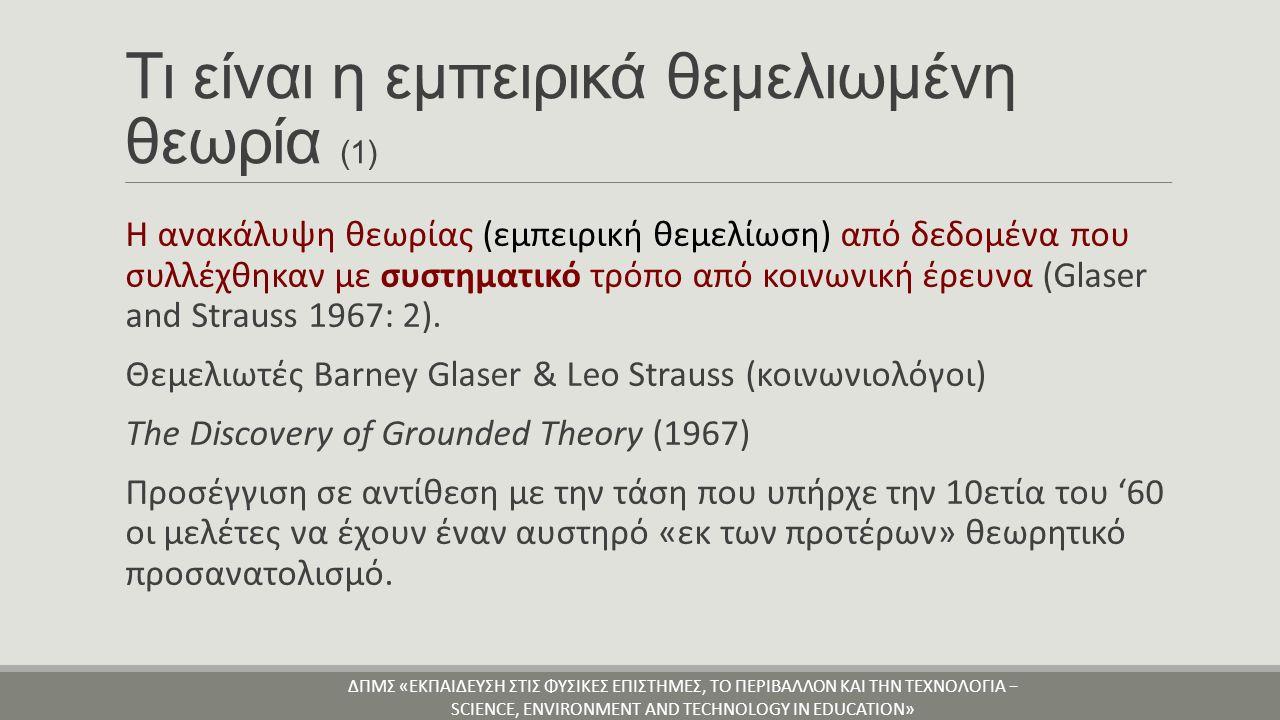 Τα χαρακτηριστικά της εμπειρικά θεμελιωμένης θεωρίας ΕΛΚΥΣΤΙΚΑ ΧΑΡΑΚΤΗΡΙΣΤΙΚΑ 1.Σαφείς διαδικασίες για την παραγωγή θεωρίας στην έρευνα 2.Στρατηγική για τη διεξαγωγή έρευνας, η οποία ενώ είναι ευέλικτη, είναι και συστηματική και συντονισμένη.