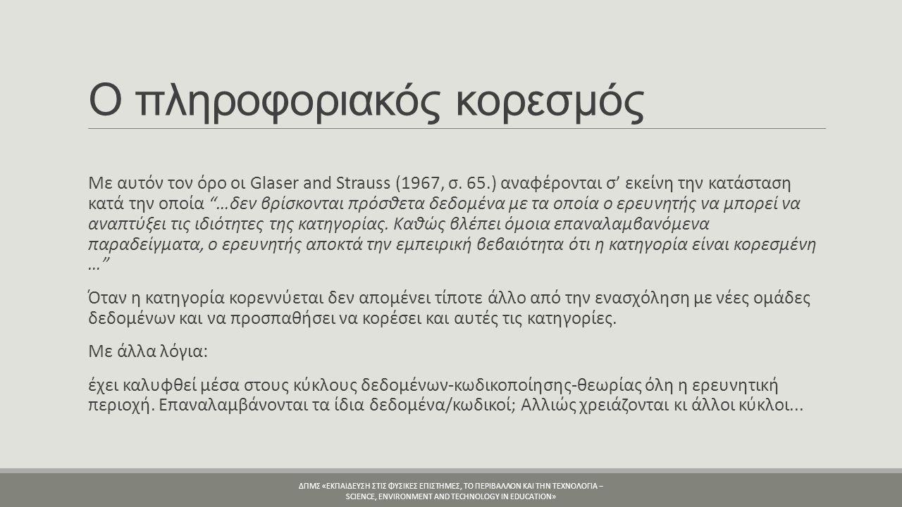 Ο πληροφοριακός κορεσμός Με αυτόν τον όρο οι Glaser and Strauss (1967, σ.