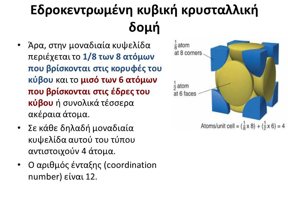 Eδροκεντρωμένη κυβική κρυσταλλική δομή Άρα, στην μοναδιαία κυψελίδα περιέχεται το 1/8 των 8 ατόμων που βρίσκονται στις κορυφές του κύβου και το μισό των 6 ατόμων που βρίσκονται στις έδρες του κύβου ή συνολικά τέσσερα ακέραια άτομα.