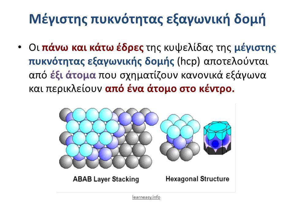 Μέγιστης πυκνότητας εξαγωνική δομή Οι πάνω και κάτω έδρες της κυψελίδας της μέγιστης πυκνότητας εξαγωνικής δομής (hcp) αποτελούνται από έξι άτομα που σχηματίζουν κανονικά εξάγωνα και περικλείουν από ένα άτομο στο κέντρο.