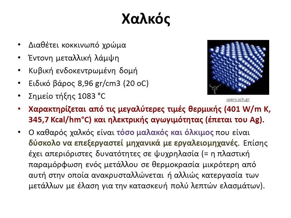 Χαλκός Διαθέτει κοκκινωπό χρώμα Έντονη μεταλλική λάμψη Κυβική ενδοκεντρωμένη δομή Ειδικό βάρος 8,96 gr/cm3 (20 oC) Σημείο τήξης 1083 °C Χαρακτηρίζεται από τις μεγαλύτερες τιμές θερμικής (401 W/m K, 345,7 Kcal/hm°C) και ηλεκτρικής αγωγιμότητας (έπεται του Ag).