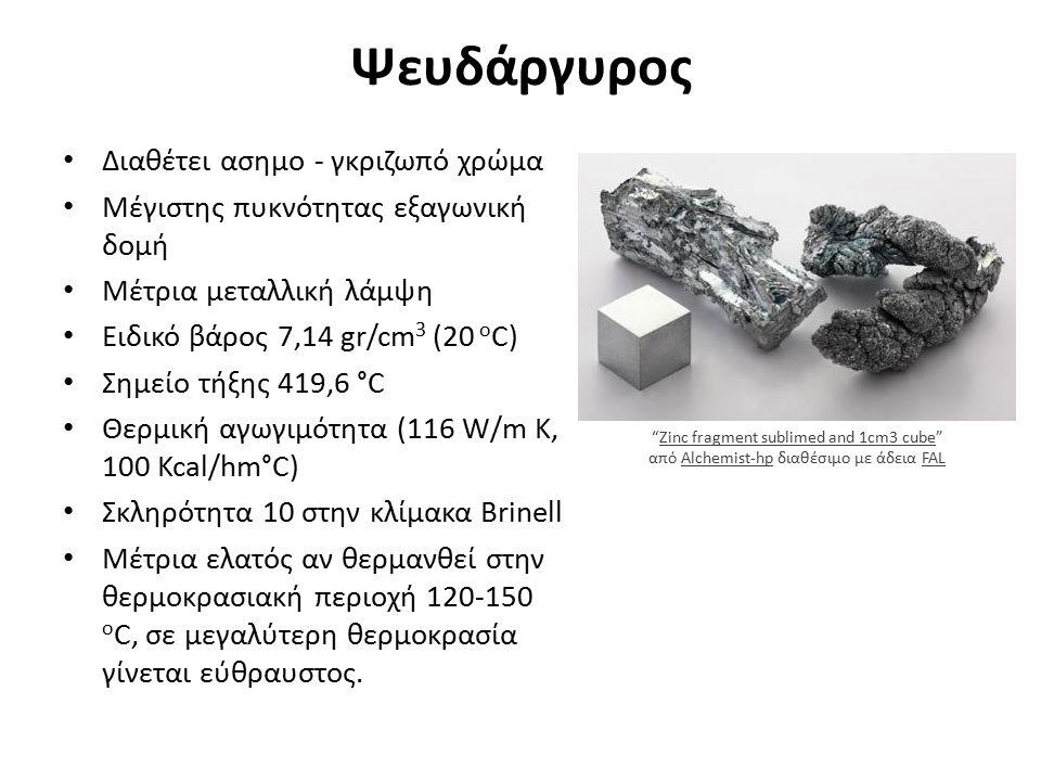 Ψευδάργυρος Διαθέτει ασημο - γκριζωπό χρώμα Μέγιστης πυκνότητας εξαγωνική δομή Μέτρια μεταλλική λάμψη Ειδικό βάρος 7,14 gr/cm 3 (20 o C) Σημείο τήξης 419,6 °C Θερμική αγωγιμότητα (116 W/m K, 100 Kcal/hm°C) Σκληρότητα 10 στην κλίμακα Brinell Μέτρια ελατός αν θερμανθεί στην θερμοκρασιακή περιοχή 120-150 ο C, σε μεγαλύτερη θερμοκρασία γίνεται εύθραυστος.