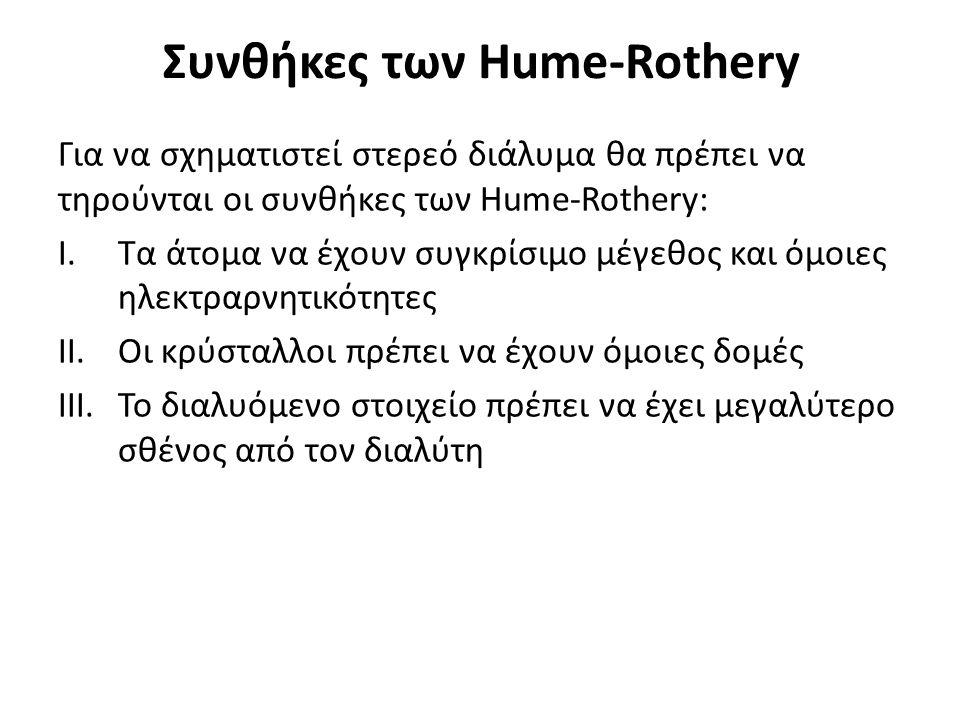 Συνθήκες των Hume-Rothery Για να σχηματιστεί στερεό διάλυμα θα πρέπει να τηρούνται οι συνθήκες των Hume-Rothery: I.Τα άτομα να έχουν συγκρίσιμο μέγεθος και όμοιες ηλεκτραρνητικότητες II.Οι κρύσταλλοι πρέπει να έχουν όμοιες δομές III.Το διαλυόμενο στοιχείο πρέπει να έχει μεγαλύτερο σθένος από τον διαλύτη