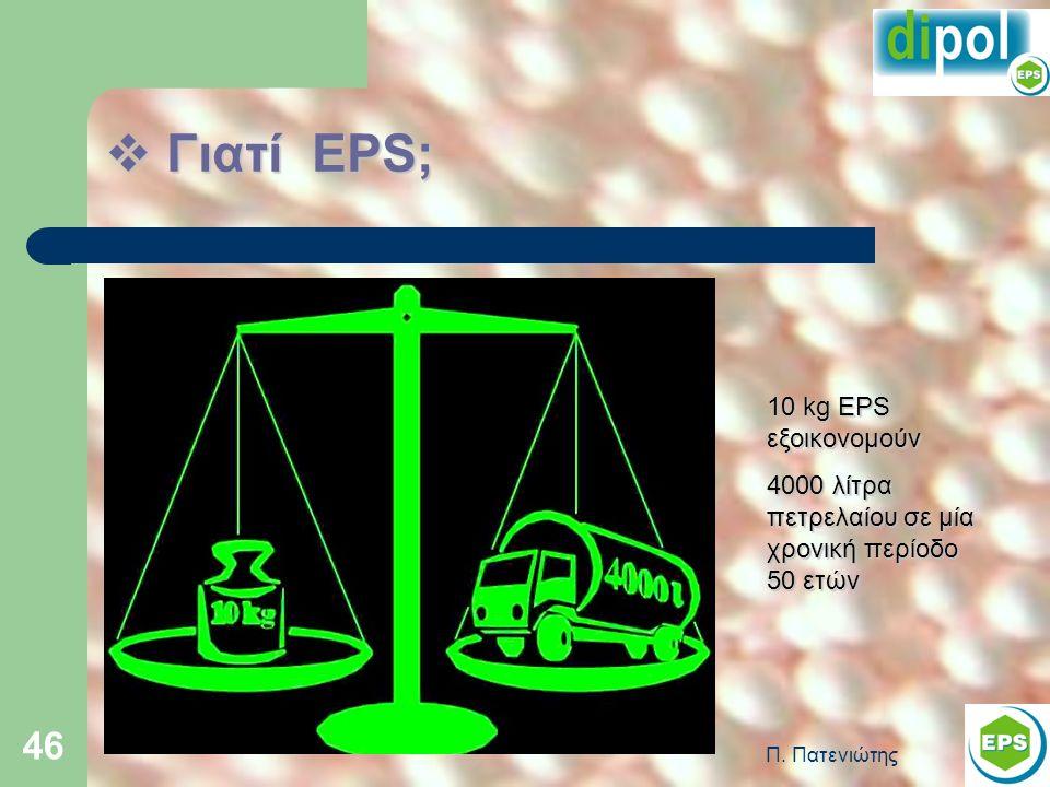 Π. Πατενιώτης 46  Γιατί EPS; 10 kg EPS εξοικονομούν 4000 λίτρα πετρελαίου σε μία χρονική περίοδο 50 ετών