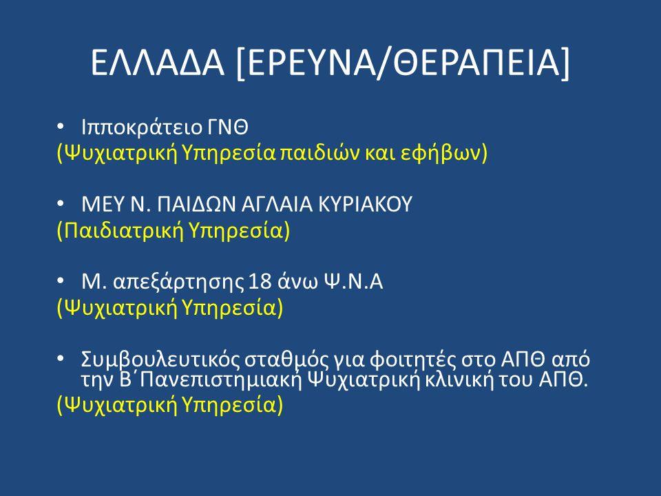 ΕΛΛΑΔΑ [ΕΡΕΥΝΑ/ΘΕΡΑΠΕΙΑ] Ιπποκράτειο ΓΝΘ (Ψυχιατρική Υπηρεσία παιδιών και εφήβων) ΜΕΥ Ν.