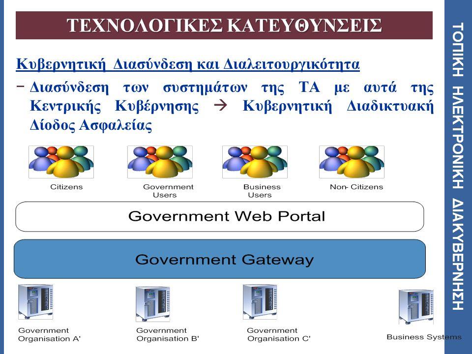 ΤΟΠΙΚΗ ΗΛΕΚΤΡΟΝΙΚΗ ΔΙΑΚΥΒΕΡΝΗΣΗ Ηλεκτρονικές Φόρμες (e-Forms) − Συλλογή δεδομένων μέσω Ηλεκτρονικών Φορμών − Δημιουργία έξυπνων εγγράφων Αυτοματισμός και έλεγχος των λειτουργιών διαχείρισης τους ( ευρετήρια, δρομολόγηση και την ασφάλεια τους ) Μείωση του εργασιακού φόρτους Επιτάχυνση της διεκπεραίωσης των εγγράφων Εφαρμογή στη ΤΑ  Θέσπιση ενός νόμιμου συστήματος ηλεκτρονικών υπογραφών  Επιλογή τρόπου συλλογής των δεδομένων  Διασύνδεση των βάσεων δεδομένων  Υποστήριξη των φυλλομετρητών  Μετατροπή παλαιών φορμών ΤΕΧΝΟΛΟΓΙΚΕΣ ΚΑΤΕΥΘΥΝΣΕΙΣ