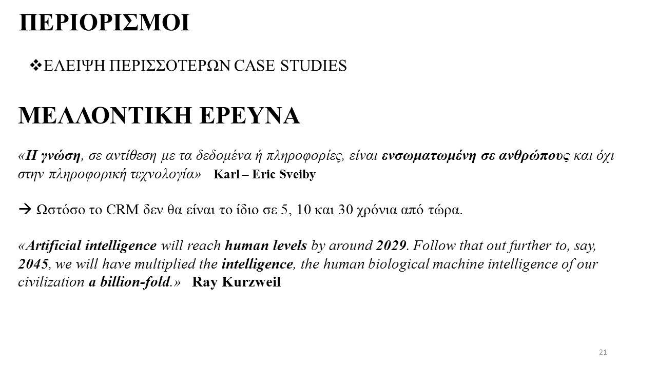 ΠΕΡΙΟΡΙΣΜΟΙ  ΕΛΕΙΨΗ ΠΕΡΙΣΣΟΤΕΡΩΝ CASE STUDIES 21 «Η γνώση, σε αντίθεση με τα δεδομένα ή πληροφορίες, είναι ενσωματωμένη σε ανθρώπους και όχι στην πληροφορική τεχνολογία» Karl – Eric Sveiby  Ωστόσο το CRM δεν θα είναι το ίδιο σε 5, 10 και 30 χρόνια από τώρα.