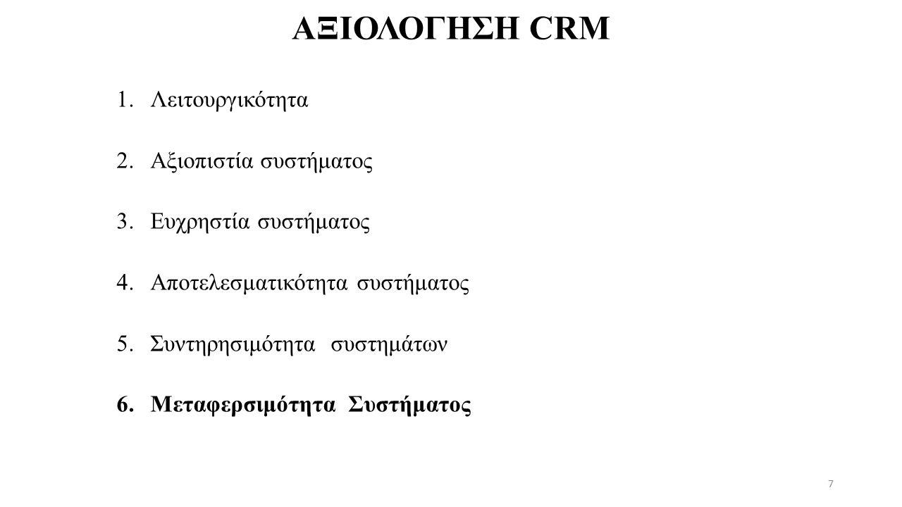 ΑΞΙΟΛΟΓΗΣΗ CRM 1.Λειτουργικότητα 2.Αξιοπιστία συστήματος 3.Ευχρηστία συστήματος 4.Αποτελεσματικότητα συστήματος 5.Συντηρησιμότητα συστημάτων 6.Μεταφερσιμότητα Συστήματος 7