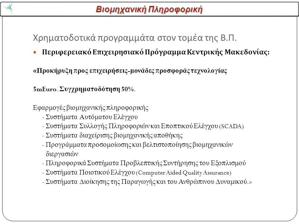 Βιομηχανική Πληροφορική Χρηματοδοτικά προγραμμάτα στον τομέα της Β.