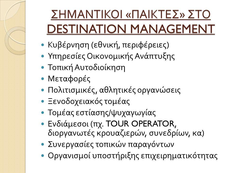 ΣΗΜΑΝΤΙΚΟΙ « ΠΑΙΚΤΕΣ » ΣΤΟ DESTINATION MANAGEMENT Κυβέρνηση ( εθνική, περιφέρειες ) Υπηρεσίες Οικονομικής Ανάπτυξης Τοπική Αυτοδιοίκηση Μεταφορές Πολιτισμικές, αθλητικές οργανώσεις Ξενοδοχειακός τομέας Τομέας εστίασης / ψυχαγωγίας Ενδιάμεσοι ( πχ.