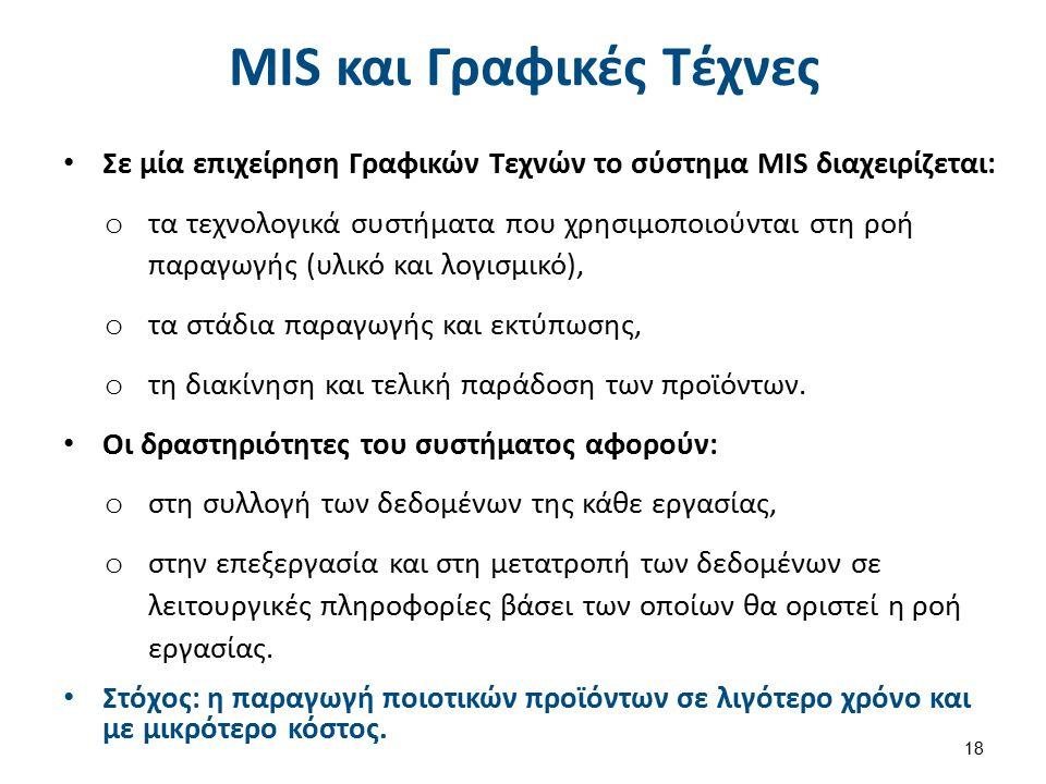 MIS και Γραφικές Τέχνες Σε μία επιχείρηση Γραφικών Τεχνών το σύστημα ΜIS διαχειρίζεται: o τα τεχνολογικά συστήματα που χρησιμοποιούνται στη ροή παραγω
