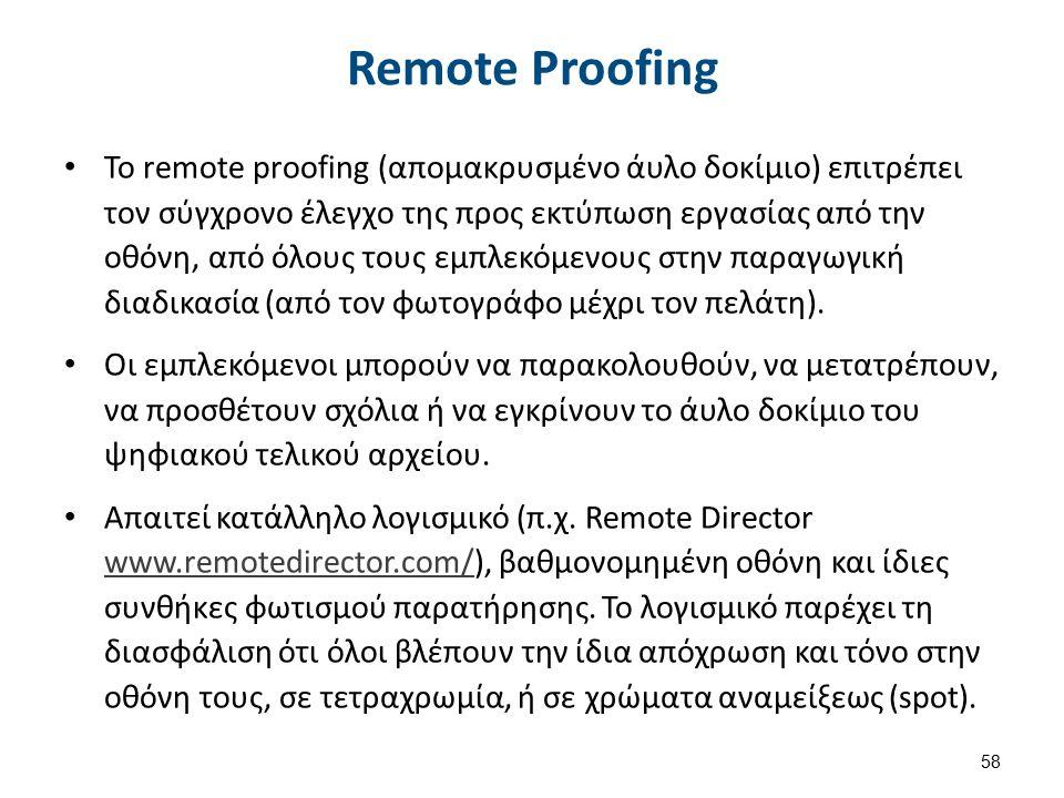 Remote Proofing Το remote proofing (απομακρυσμένο άυλο δοκίμιο) επιτρέπει τον σύγχρονο έλεγχο της προς εκτύπωση εργασίας από την οθόνη, από όλους τους εμπλεκόμενους στην παραγωγική διαδικασία (από τον φωτογράφο μέχρι τον πελάτη).