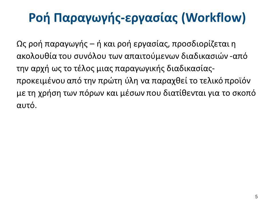 Ροή Παραγωγής-εργασίας (Workflow) Ως ροή παραγωγής – ή και ροή εργασίας, προσδιορίζεται η ακολουθία του συνόλου των απαιτούμενων διαδικασιών -από την αρχή ως το τέλος μιας παραγωγικής διαδικασίας- προκειμένου από την πρώτη ύλη να παραχθεί το τελικό προϊόν με τη χρήση των πόρων και μέσων που διατίθενται για το σκοπό αυτό.