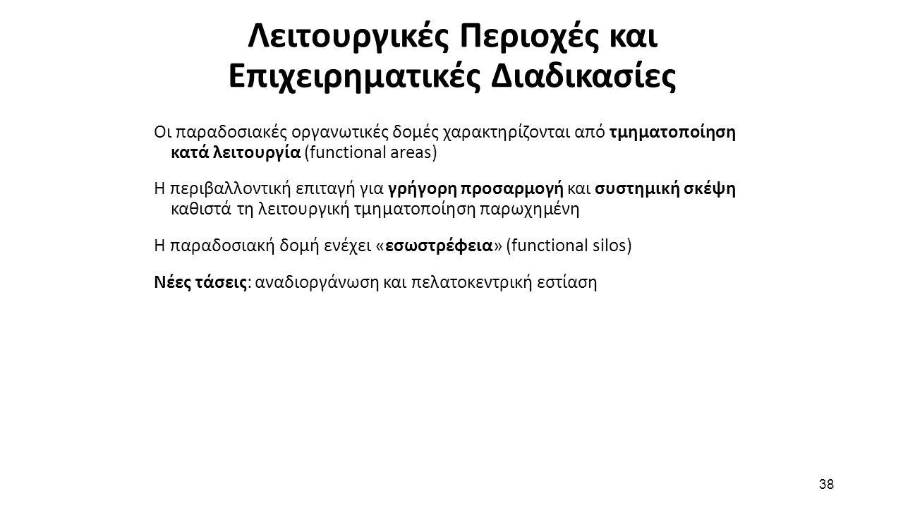 38 Λειτουργικές Περιοχές και Επιχειρηματικές Διαδικασίες Οι παραδοσιακές οργανωτικές δομές χαρακτηρίζονται από τμηματοποίηση κατά λειτουργία (function