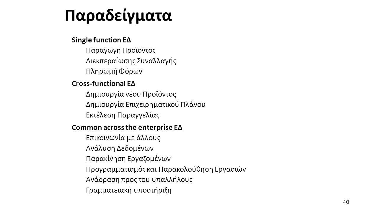 40 Παραδείγματα Single function ΕΔ Παραγωγή Προϊόντος Διεκπεραίωσης Συναλλαγής Πληρωμή Φόρων Cross-functional ΕΔ Δημιουργία νέου Προϊόντος Δημιουργία