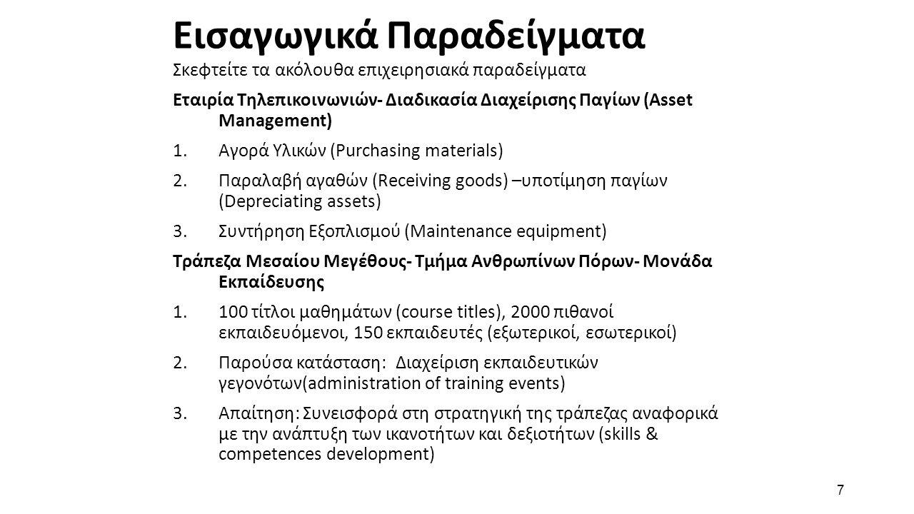 7 Εισαγωγικά Παραδείγματα Σκεφτείτε τα ακόλουθα επιχειρησιακά παραδείγματα Εταιρία Τηλεπικοινωνιών- Διαδικασία Διαχείρισης Παγίων (Asset Management) 1.Αγορά Υλικών (Purchasing materials) 2.Παραλαβή αγαθών (Receiving goods) –υποτίμηση παγίων (Depreciating assets) 3.Συντήρηση Εξοπλισμού (Maintenance equipment) Τράπεζα Μεσαίου Μεγέθους- Τμήμα Ανθρωπίνων Πόρων- Μονάδα Εκπαίδευσης 1.100 τίτλοι μαθημάτων (course titles), 2000 πιθανοί εκπαιδευόμενοι, 150 εκπαιδευτές (εξωτερικοί, εσωτερικοί) 2.Παρούσα κατάσταση: Διαχείριση εκπαιδευτικών γεγονότων(administration of training events) 3.Απαίτηση: Συνεισφορά στη στρατηγική της τράπεζας αναφορικά με την ανάπτυξη των ικανοτήτων και δεξιοτήτων (skills & competences development)