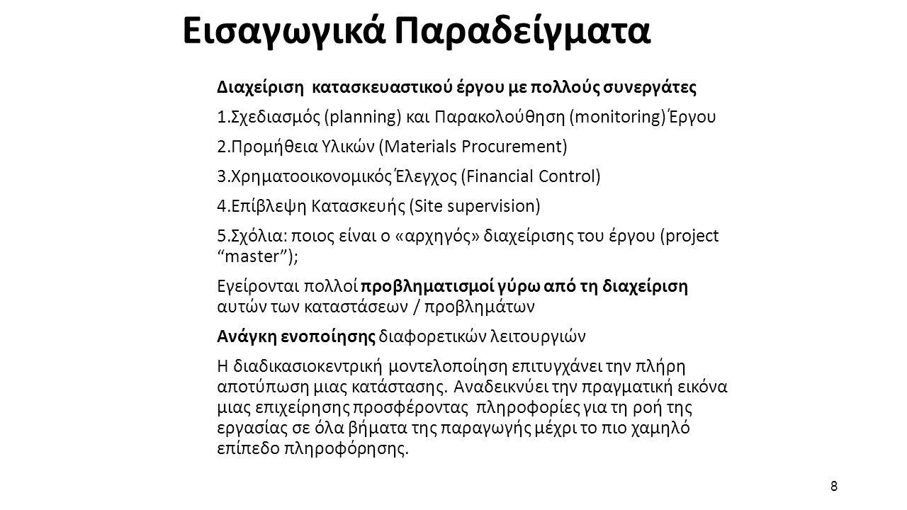 8 Εισαγωγικά Παραδείγματα Διαχείριση κατασκευαστικού έργου με πολλούς συνεργάτες 1.Σχεδιασμός (planning) και Παρακολούθηση (monitoring) Έργου 2.Προμήθεια Υλικών (Materials Procurement) 3.Χρηματοοικονομικός Έλεγχος (Financial Control) 4.Επίβλεψη Κατασκευής (Site supervision) 5.Σχόλια: ποιος είναι ο «αρχηγός» διαχείρισης του έργου (project master ); Εγείρονται πολλοί προβληματισμοί γύρω από τη διαχείριση αυτών των καταστάσεων / προβλημάτων Ανάγκη ενοποίησης διαφορετικών λειτουργιών Η διαδικασιοκεντρική μοντελοποίηση επιτυγχάνει την πλήρη αποτύπωση μιας κατάστασης.